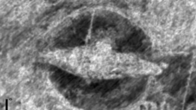 The buried ship as seen by ground-penetrating radar.