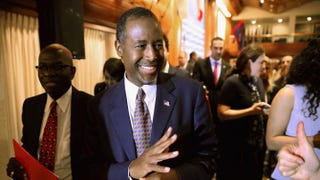 Republican presidential candidate Dr. Ben Carson waves to supporters after addressing the National Press Club Newsmakers Luncheon Oct. 9, 2015, in Washington, D.C., to promote his new book, A More Perfect Union: What We the People Can Do to Reclaim Our Constitutional Liberties.Chip Somodevilla/Getty Images