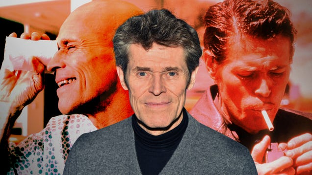 Green screen, working with kids, rubber overalls—Willem Dafoe embraces it all