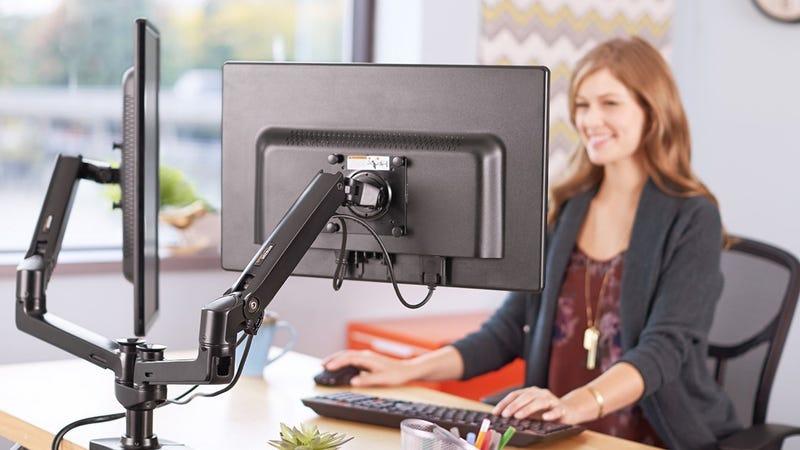 AmazonBasics Dual Monitor Arm, $149 | Fleximounts Single Arm, $58