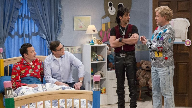 Illustration for article titled Men of Full House refuse to stop reuniting, reunite on Late Night With Jimmy Fallon