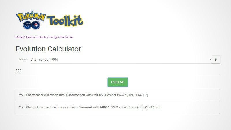 Calculator pokemon go