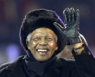 South Africa's former President Nelson Mandela at the 2010 World Cup football finale on July 11, 2010, his final public appearance. THOMAS COEX/AFP/Getty Images