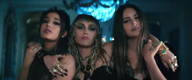 """Ariana Grande, Miley Cyrus, and Lana Del Rey play Charlie's Angels in """"Don't Call Me Angel"""" video"""