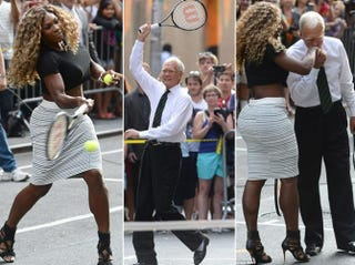 Serena Williams and David Letterman play a quick game of tennis outside the Ed Sullivan Theater in New York City Aug 21, 2014.Twitter