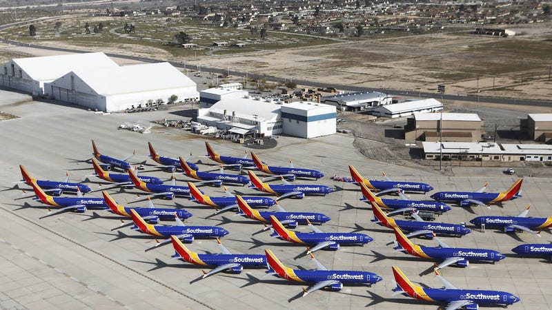 A number of Southwest Airlines Boeing 737 MAX aircraft are parked at Southern California Logistics Airport on March 27, 2019 in Victorville, California.