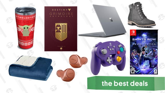 Monday s Best Deals: Surface Laptop 2, Baby Yoda Holiday Tumbler, Switch GameCube Controllers, Sleep Philosophy Weighted Blanket, White Mountain Booties, and More