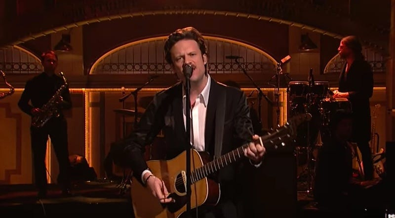 Father John Misty right in the middle of singing about Oculus Rift for some fucking reason (Screenshot from YouTube)