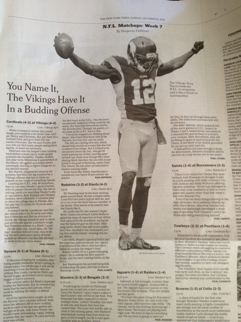 Illustration for article titled Percy Harvin Has The Gray Lady All Hot And Bothered This Morning