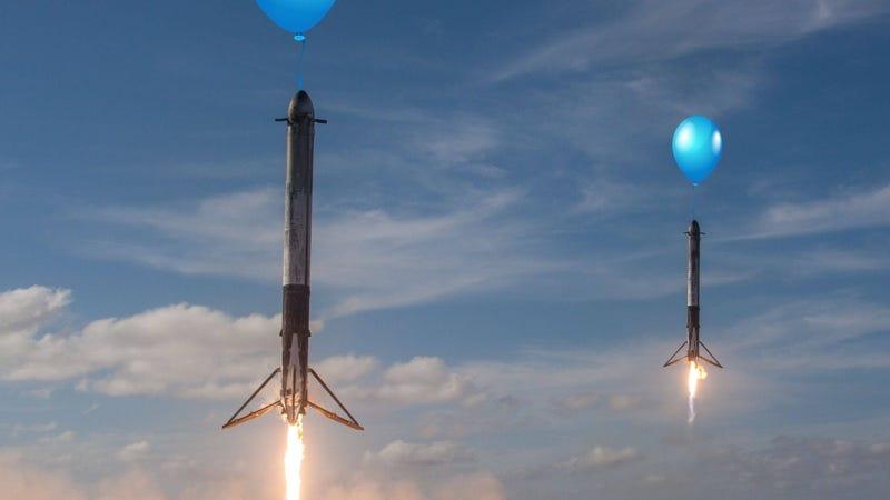 """Illustration for article titled SpaceX tratará de recuperar la etapa superior de sus cohetes con """"un globo gigante y un castillo inflable"""""""