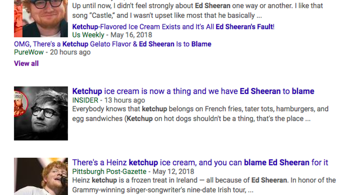 Ketchup ice cream inspired by Ed Sheeran causes online uproar