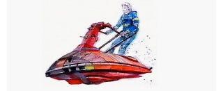 Illustration for article titled Chris Foss Designed Totally Thrilling Rocket Sled Art For Flash Gordon