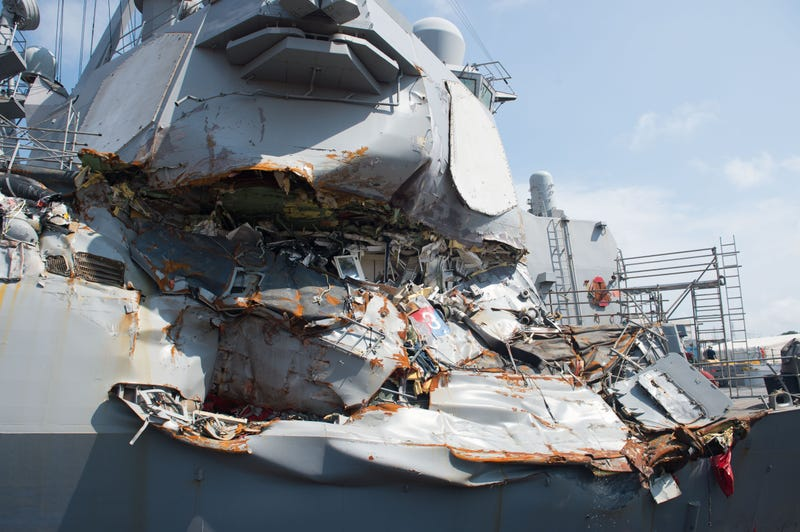The starboard side of USS Fitzgerald showing the damage to the CO's stateroom which took a direct hit. Image: US Navy