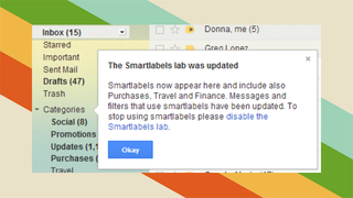 Illustration for article titled Gmail's New Smart Labels Auto Categorize Purchases, Travel, and More
