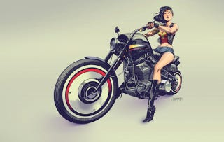 Illustration for article titled Wonder Woman Is Totally Rocking That Motorcycle Look