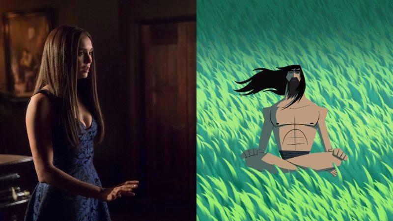 Nina Dobrev in The Vampire Diaries (left), Samurai Jack (Photos: Bob Mahoney/The CW; Adult Swim)