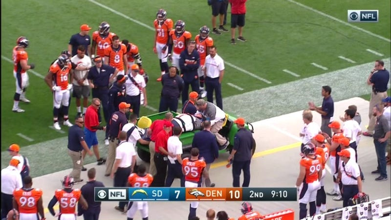 Broncos Coach Wade Phillips Carted Off After Sideline