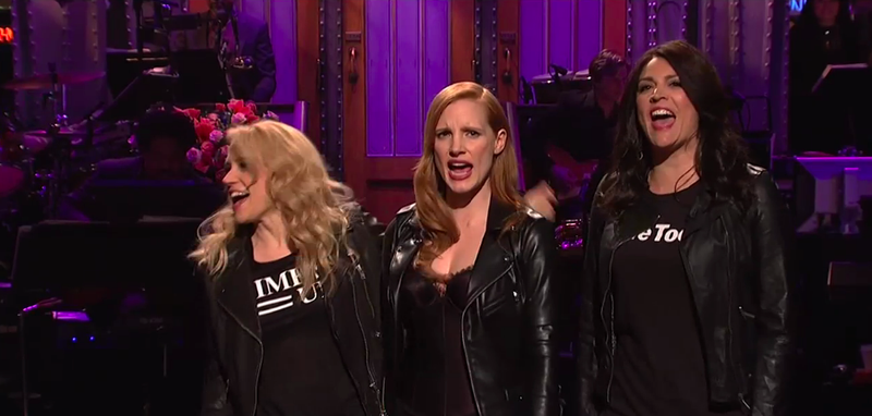 Kate McKinnon, Jessica Chastain, Cecily Strong (Screenshot: NBC)