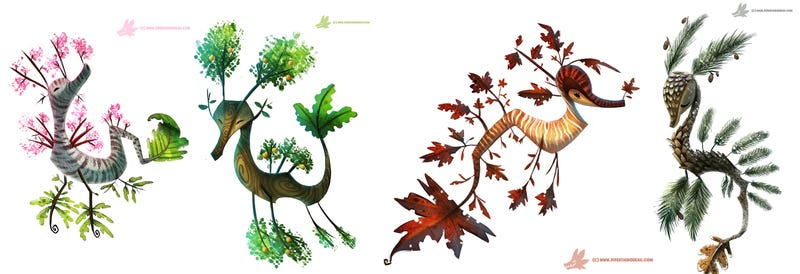 Illustration for article titled These Stunning Illustrated Sea Dragons Are Part Fish and Part Tree