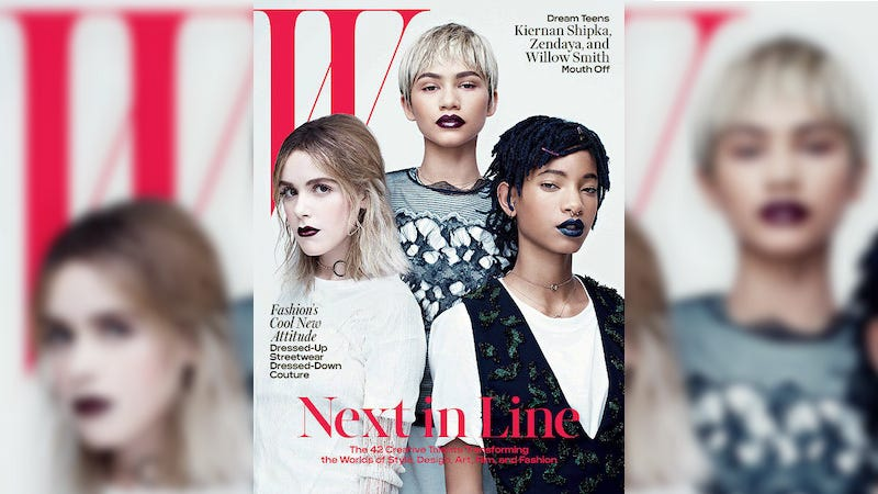 Illustration for article titled Zendaya, Willow Smith and Kiernan Shipka Are Too Damn Cool on the Cover of W