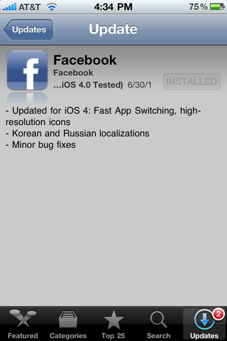 Illustration for article titled Facebook App Updated for iOS 4