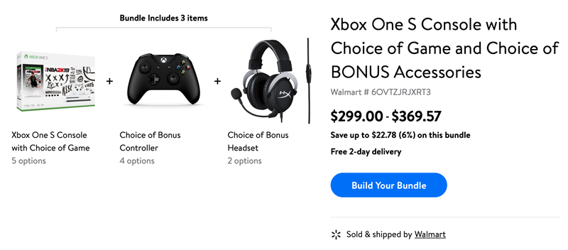 Xbox One S Bundle + Choice of Controller + Choice of Headset | $299 | Walmart
