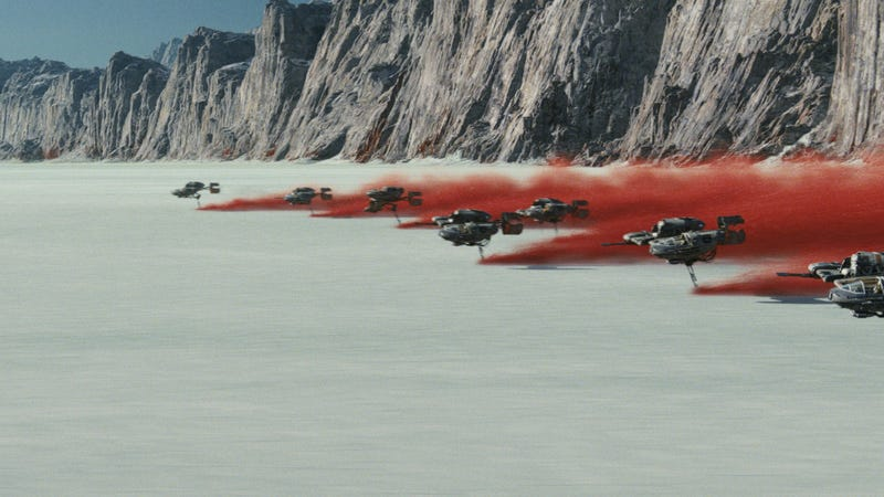 The Battle of Crait begins in Star Wars: The Last Jedi.