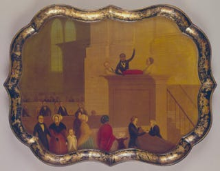 American. Lemuel Haynes preaching, circa 1835-40. Painted tray, oil paint on papier-mâché, 65.3 cm.Museum of Art, Rhode Island School of Design, Providence. Bequest of Miss Lucy T. Aldrich.