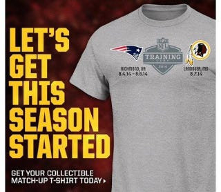 Illustration for article titled Do Not Buy This Patriots-Redskins Training-Camp Shirt
