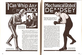 """Illustration for article titled """"I Can Whip Any Mechanical Robot"""" by Jack Dempsey (1930s)"""