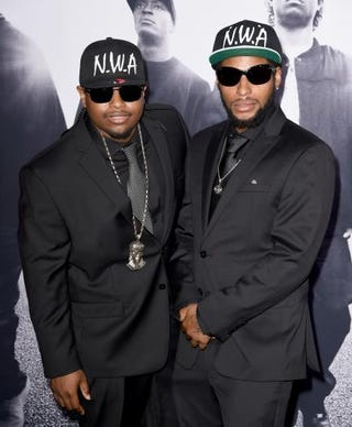 "Eric ""Lil Eazy-E"" Wright Jr. and his brother Derrek Wright, sons of rapper Eazy-E, arrive at the premiere of Straight Outta Compton in Los Angeles Aug. 10, 2015.Kevin Winter/Getty Images"