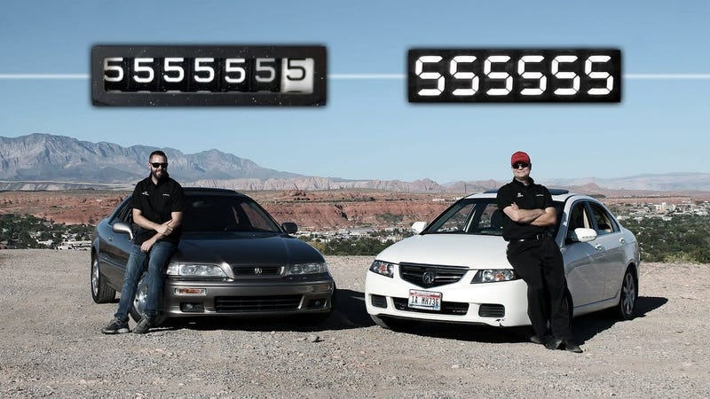 Illustration for article titled Best Buds In Acura Legend And TSX Roll To 555,555 Miles AT THE SAME TIME