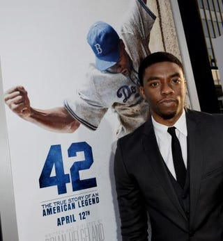 Chadwick Boseman arrives at the premiere of 42 at the Chinese Theatre in Los Angeles April 9, 2013. Kevin Winter/Getty Images
