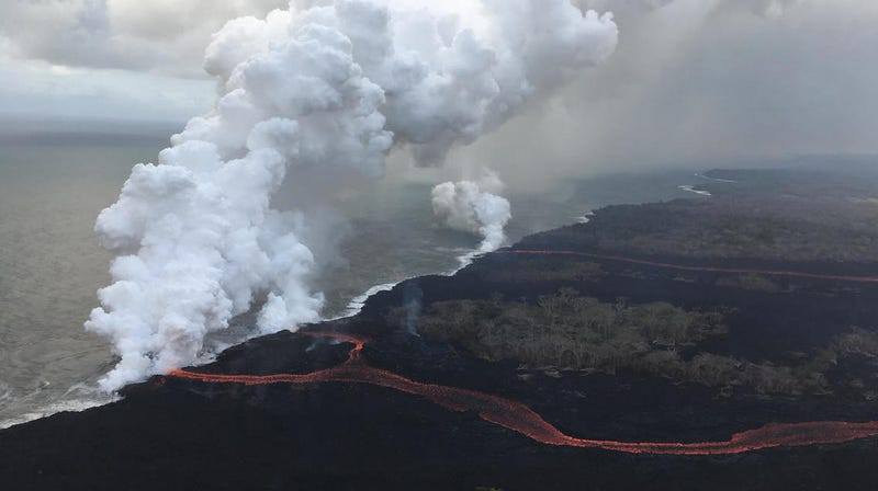Aerial view of the three lava ocean entries.