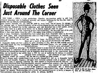 Illustration for article titled Disposable Clothes Just Around Corner (1961)