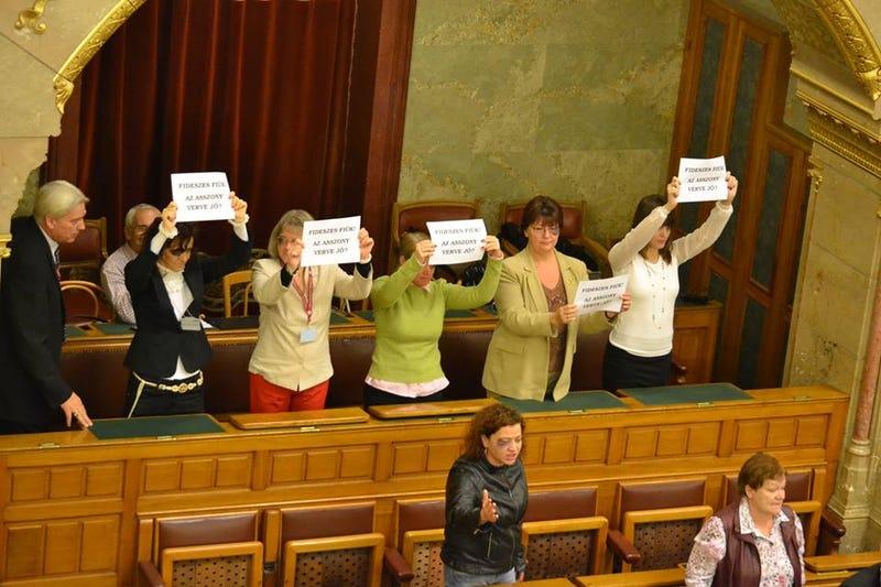 Illustration for article titled Műmonoklival tiltakoztak a parlamentben a nőverő Balogh ellen
