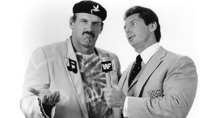 Jesse Ventura and Vince McMahon in a 1988 promotional photo.