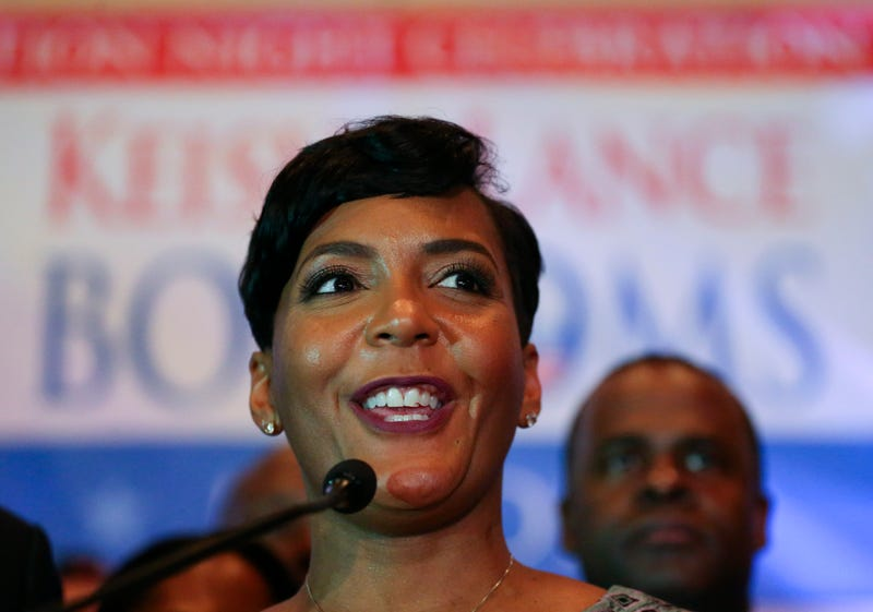Then-Atlanta mayoral candidate Keisha Lance Bottoms declares victory during an election night watch party Dec. 6, 2017, in Atlanta.