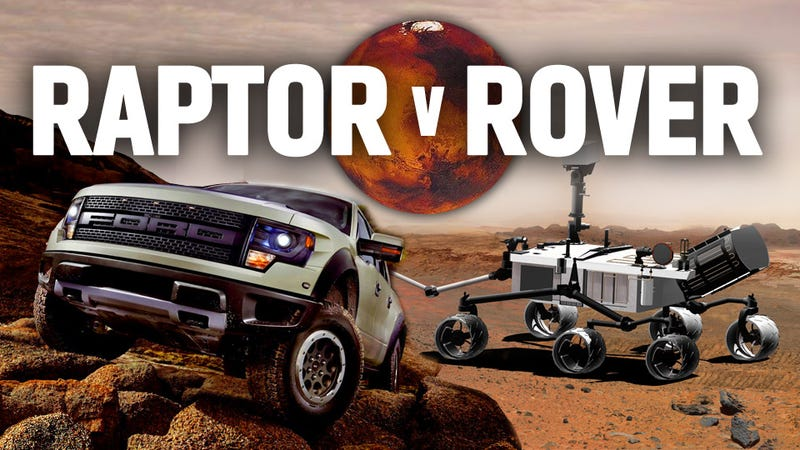 Illustration for article titled The Ford Raptor Goes Head To Head Against The Curiosity Mars Rover