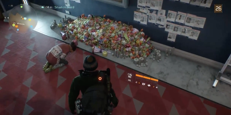 The Division's controversial weeping woman before she was removed from the game. As seen in YouTuber's Mob's Let's Play