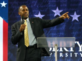Republican presidential candidate Dr. Ben Carson speaks at Liberty University Nov. 11, 2015, in Lynchburg, Va.Mark Wilson/Getty Images