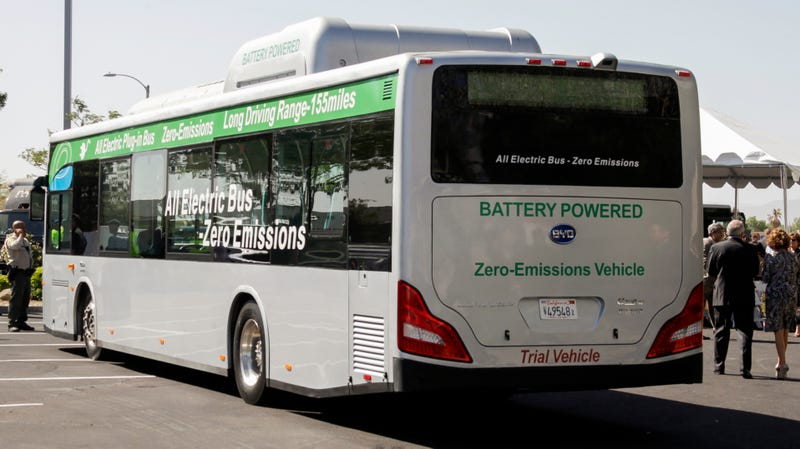 A BYD Co. electric bus outside a production facility in Lancaster, California.