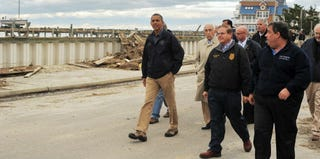 President Obama and Gov. Chris Christie tour neighborhoods hit by Superstorm Sandy. (Jewel Samad/AFP/Getty Images)