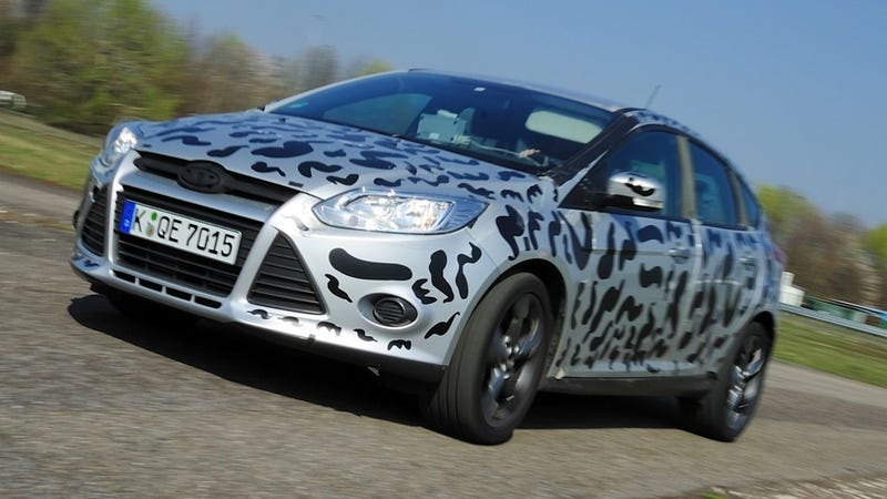 Illustration for article titled Ford Focus ST hits the track in cow-colored paint