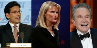 Eric Cantor (Mark Wilson/Getty); Martha Raddatz (Justin Sullivan/Getty); Warren Beatty (Kevin Winter/Getty)
