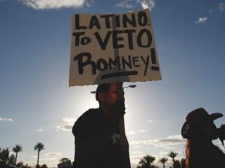A Romney detractor in Arizona (Getty Images)
