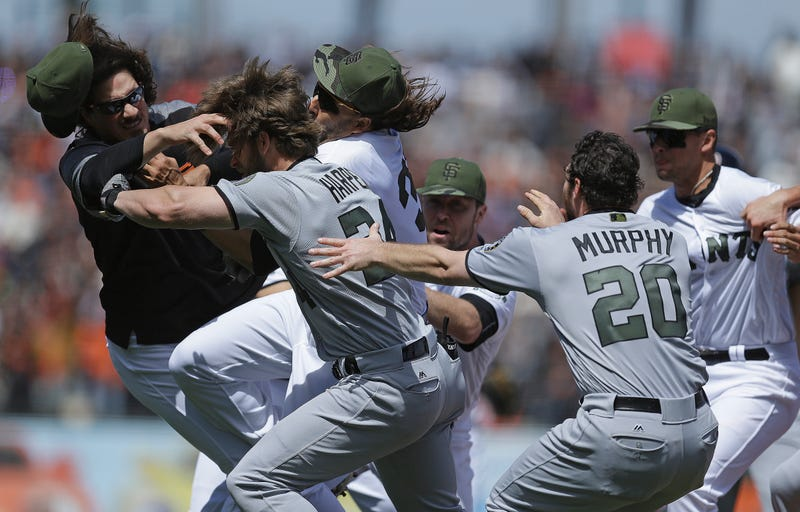 Morse, third from left, a moment after the collision with Samardzija, far left. Ben Margot/AP Images