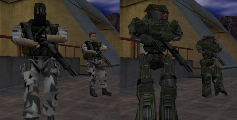 On the left, Half-Life Marines in the original release, while on the right, as robots in the German version | Image: MarphitimusBlackimus
