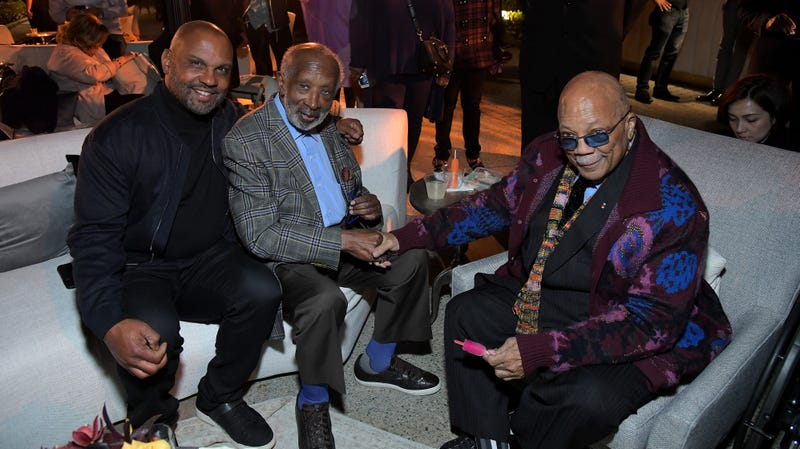 Steve McKeever, Clarence Avant and Quincy Jones attend Netflix world premiere of The Black Godfather on June 3, 2019, in Los Angeles.