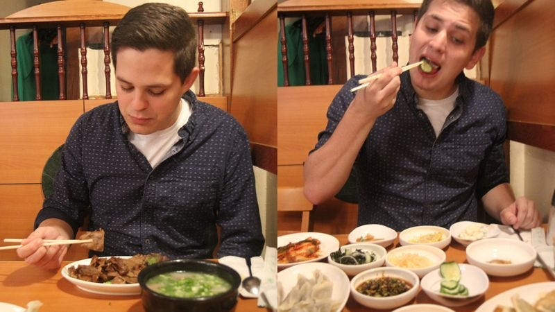 Illustration for article titled Brilliant: This 25-Year-Old Hired A Look-Alike So He Wouldn't Have To Try Korean Side Dishes